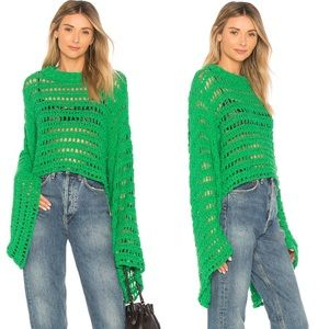 NWT Free People Caught Up Crochet Sweater Green